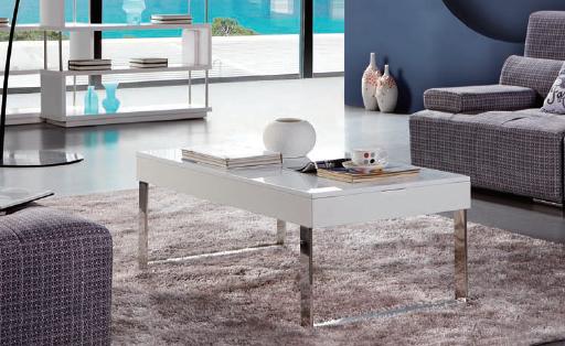 13 mesa elevable laca blanca pata plana en cromo