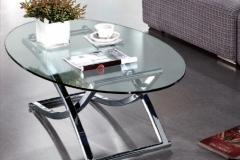 12 mesa ovalada cristal cromo