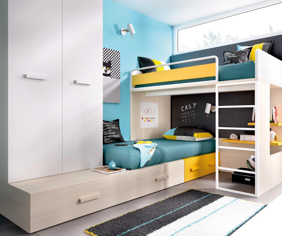 Dormitorios juveniles muebles montanaro - Literas en angulo ...